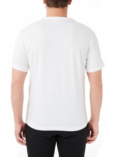 Champion  Baskılı Bisiklet Yaka % 100 Pamuk T Shirt Erkek T Shırt 210972 Wht Ww01 Beyaz